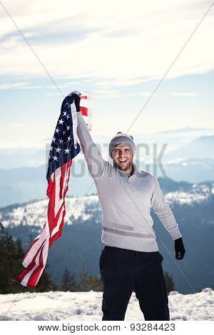 Young Man Holding Usa Flag