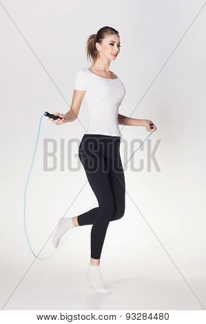 Beautiful Woman Jumping Rope