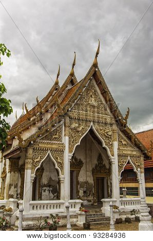 Phetchaburi Temple With Moody Sky