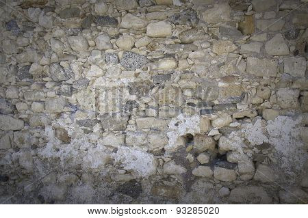 Wall Surface At Kales Fort In Lerapetra