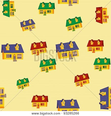 Seamless pattern with houses.Flat design