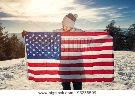 Young Man With Usa Flag