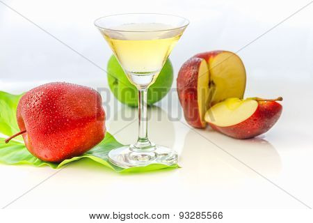 The Apple Juice On White Background.