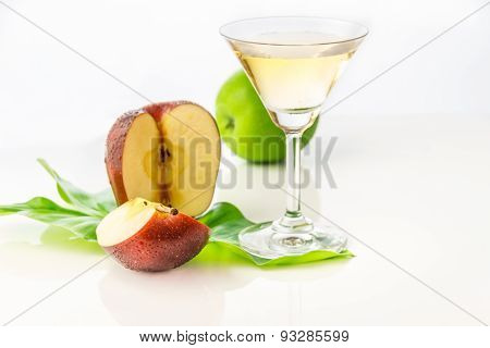 The Apple Juice On White Background For Decorate Project.