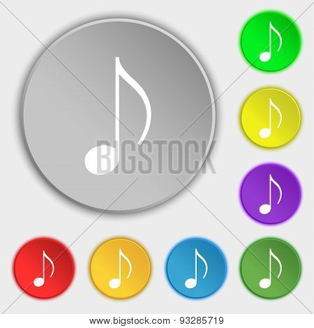 Musical Note, Music, Ringtone Icon Sign. Symbol On Five Flat Buttons. Vector