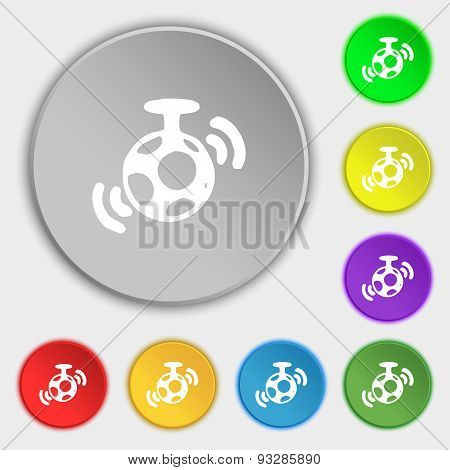Mirror Ball Disco Icon Sign. Symbol On Five Flat Buttons. Vector