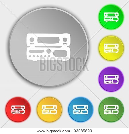 Radio, Receiver, Amplifier Icon Sign. Symbol On Five Flat Buttons. Vector