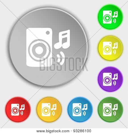 Music Column, Disco, Music, Melody, Speaker Icon Sign. Symbol On Five Flat Buttons. Vector