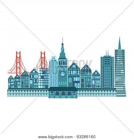 San Francisco Travel Icons Colorful Retro Style.flat Design