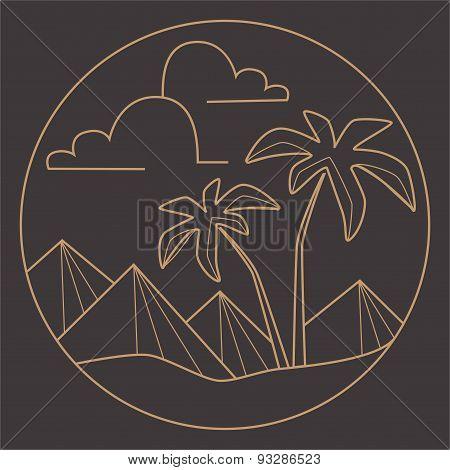 Vector flat line logo, palms,piramids. Summer icon.Retro vector design graphic element.