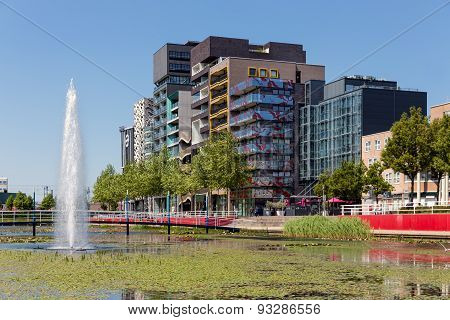 City View Of Lelystad With Pond And Fountain, Tthe Netherlands