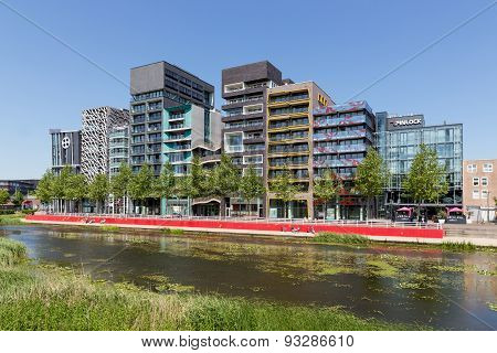 City View Of Lelystad With Pond In The Netherlands