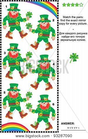 Visual puzzle: find the mirrored copy for every leprechaun picture