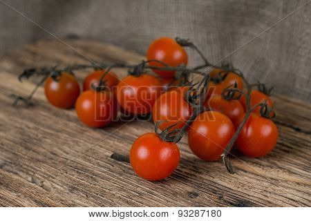 Dirty Brunch Of Cherry Tomatoes Just Harvested And Unwashed