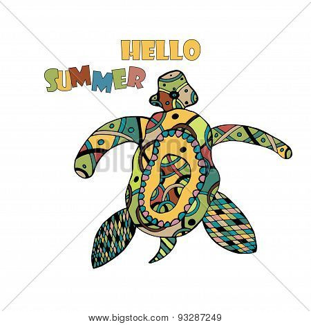 Zentangle tribal stylized turtle. Hand Drawn aquatic doodle vector illustration. Sketch for tattoo o
