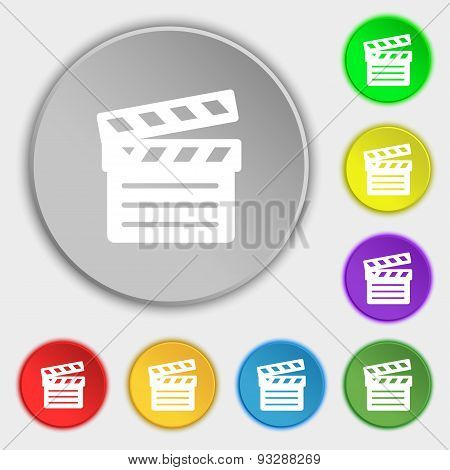 Cinema Clapper Icon Sign. Symbol On Five Flat Buttons. Vector