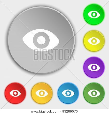 Sixth Sense, The Eye Icon Sign. Symbol On Five Flat Buttons. Vector