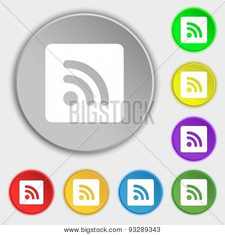Rss Feed  Icon Sign. Symbol On Five Flat Buttons. Vector