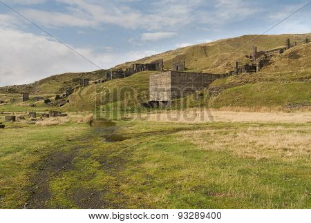 Clee Hill Disused Stone Quarry Buildings. Concrete Ruins.