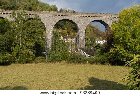 The Knucklas Viaduct Carries The Heart Of Wales Railway.