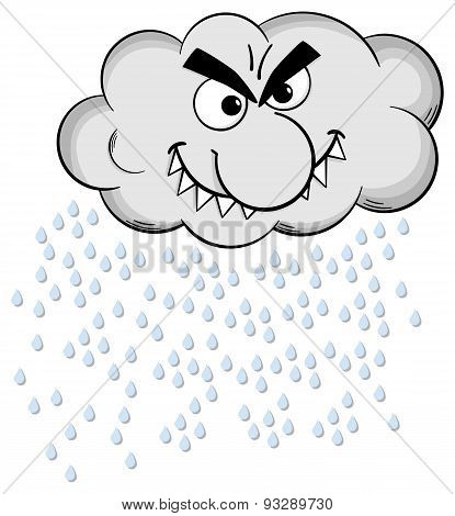 Cartoon Raincloud Isolated On White