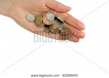 Hand Is Holding A Pile Of  British Coins