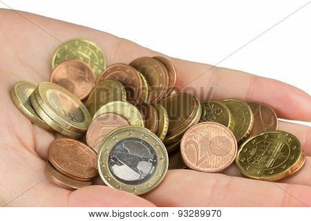 Hand Is Holding A Pile Of Euro Coins Closeup