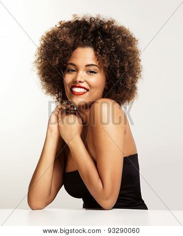 Happy Smiling Black Woman With An Afro Hair