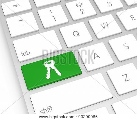 Computer Keyboard With Key Button. 3D Rendering
