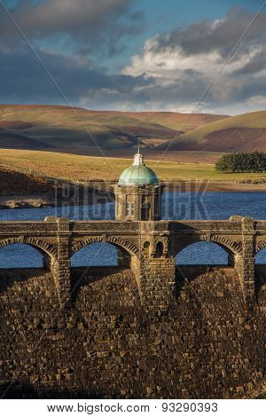 Craig Goch Dam And Reservoir Evening Light, Fall Autumn.