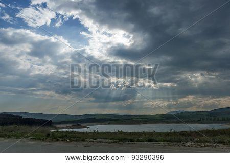 View toward artificial lake or reservoir near river Struma