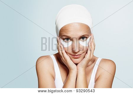 Woman With A Blue Eyes And Eye Patches