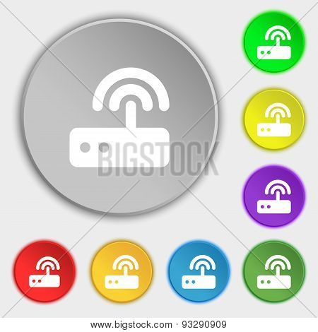Wi Fi Router Icon Sign. Symbol On Five Flat Buttons. Vector