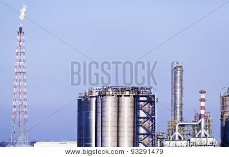 storage tanks and towers at chemical plant