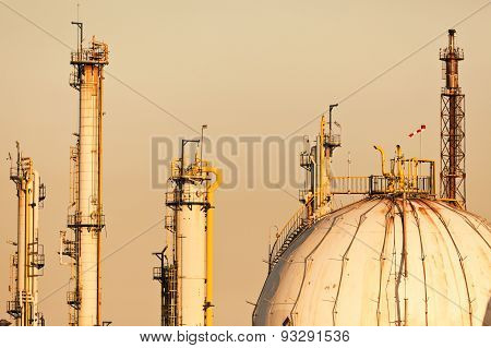 chimneys pipelines and gas tank in chemical plant