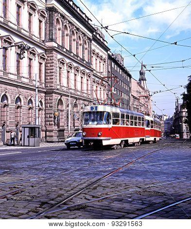 City centre tram, Prague.