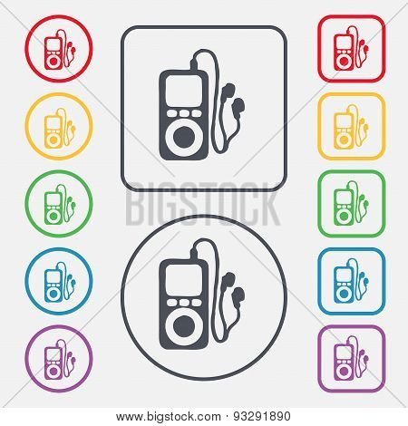 Mp3 Player, Headphones, Music Icon Sign. Symbol On The Round And Square Buttons With Frame. Vector