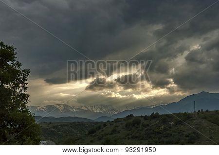 View toward a Rila and Pirin mountain area