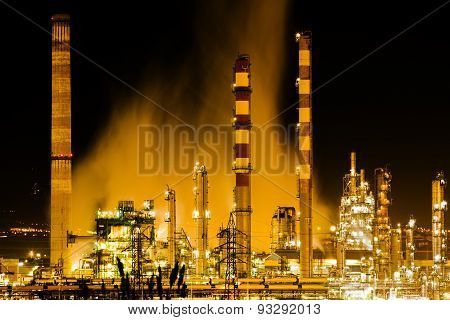 oil refinery at night Industry and factories backgrounds