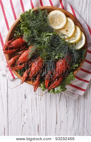 Crayfish With Herbs And Lemon On A Plate. Vertical Top View