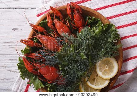 Crayfish With Herbs And Lemon On A Plate. Horizontal Top View Closeup