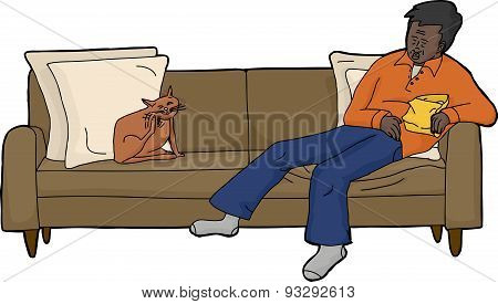 Isolated Sofa With Tired Man And Cat