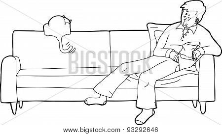 Outlined Man Asleep With Cat