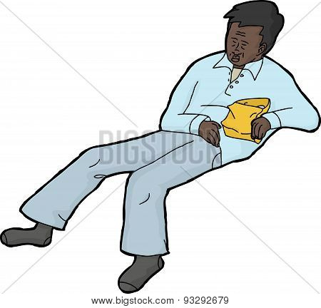 Sleeping Man With Snack Bag