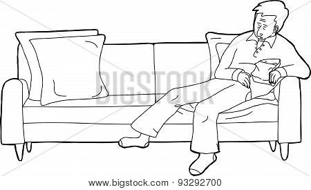 Person Asleep On Sofa With Snack