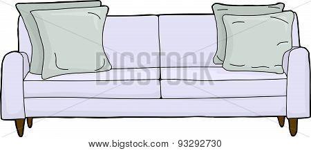 Blue Loveseat Cartoon