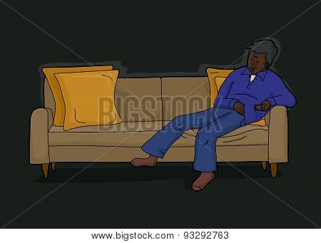 Man With Remote On Sofa