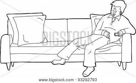 Outline Of Sleeping Man With Remote