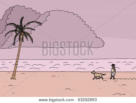 Cartoon Tropical Monsoon Scene
