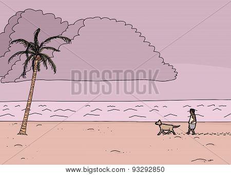 Cartoon Tropical Monsoon Scene